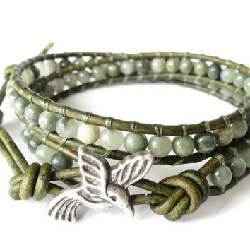 Hummingbird double wrap bracelet boho style, nature inspired jewelry with green line quartz gemstone beads