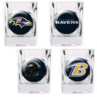 Baltimore Ravens 4pc Collector's Shot Glass Set