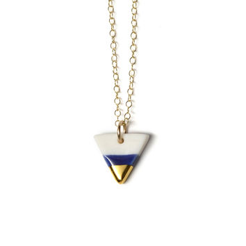 tiny royal blue triangle necklace