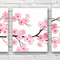 Cherry Blossoms Set of 3 Art Prints -Triptic Floral Watercolor Paintings - Wall Decor