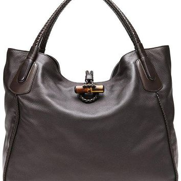 CREYIX5 Gucci Dark Brown Leather Hip Bamboo Large Tote Bag