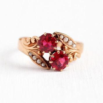 Victorian Doublet Ring - Antique 10k Rose Gold Garnet & Glass Seed Pearl Bypass - Vintage Size 7 1/4 Toi Et Moi Red Pink Stone Fine Jewelry