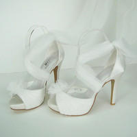 Make to order white gauze wedding shoes fairy shoes