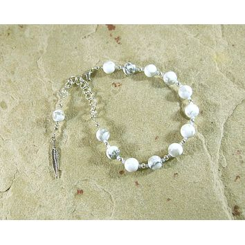 Ma'at Prayer Bead Bracelet in White Howlite: Egyptian Goddess of Truth, Justice, and Order