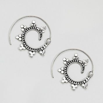 ASOS Ornate Thread Through Hoop Earrings at asos.com
