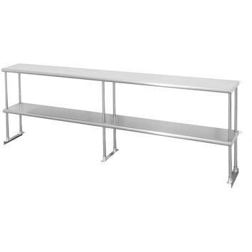 "Stainless Steel Double Overshelf 12"" x 84"""