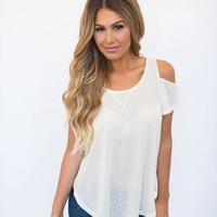 Open Shoulder Top- Cream