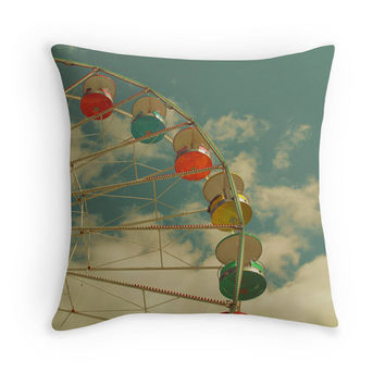 Ferris Wheel Pillow Cover, Carnival Photography, Nursery Decor, Decorative Throw Pillow, Turquoise, Retro