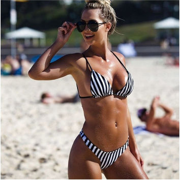 Sexy hot black white Vertical stripes halter two piece bikini beach swimsuit