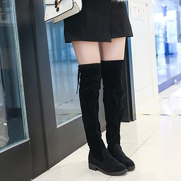 Thigh High Boots Fashion Female Winter Square heel Faux Over The Knee Sexy Slip-On Shoes Suede Leather Solid High Heels Women