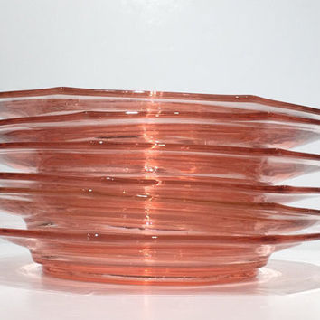 Pink Depression Glass Plates Set of 6, Heisey Pink Flamingo Plates, Luncheon Plates
