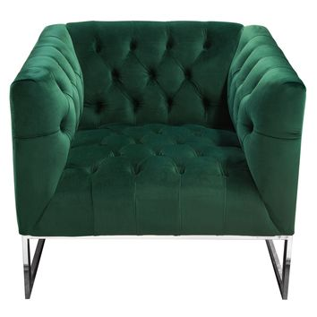 Crawford Tufted Chair in Emerald Green Velvet w/ Polished Metal Leg & Trim