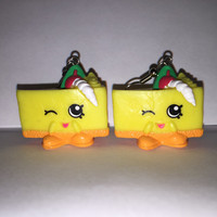Shopkins Foodie Earrings - Cheese Kate - repurposed toys