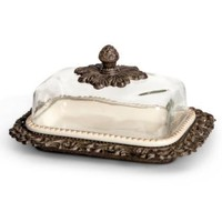 "9""L, Glass Dome Butter Dish"