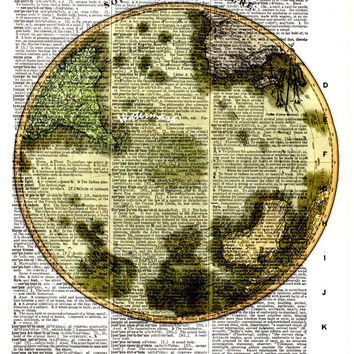 Southern Hemisphere - 1814 - Historical Map - Vintage Dictionary Decorative Art Print - Page Size 8.5x11