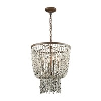65307/4 Agate Stones 4 Light Chandelier In Weathered Bronze With Gray Agate Stones - Free Shipping!
