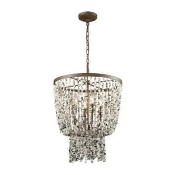65307/4 Agate Stones 4 Light Chandelier In Weathered Bronze With Gray Agate Stones