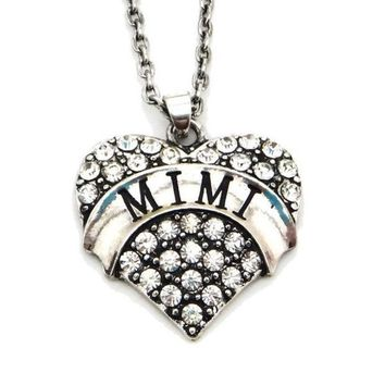 ONETOW Mimi Grandma Grandmother Pendant Necklace Heart Rhinestone Jewelry Gift (Size: 0.98' * 0.91', Color: Silver) = 1946181508