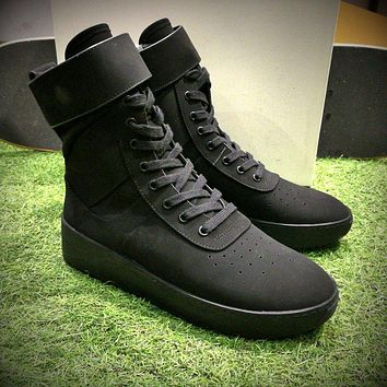 Sale Fear Of God FOG Justin Bieber Military High-Top Black Luxury Shoes-1