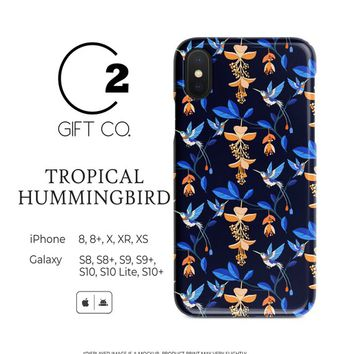 Tropical Hummingbird - Heavy Duty Shock Absorption Phone Case For Iphone X, Xr, Xs, 8, 8+ & Samsung Galaxy S10, S10+, S9, S9+, S8, S8+