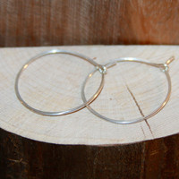 "Sterling Silver Hoops, Classic Organic Shape Hoops, Large Silver Hoop Earrings, Sterling Silver Hoop Earrings, 1"" Hoops"
