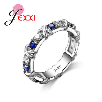 JEXXI Fashion Design Bridal Bijoux Jewerly Blue CZ Diamond 925 Sterling Silver Women Wedding Engagement Rings