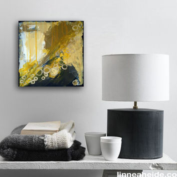 abstract painting - acrylic on canvas - black bronze - metallic paint - yellow ochre - earth tones - abstract expressionism