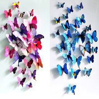 12 Pcs/Lot PVC 3D Butterfly Wall Stickers Home Decor Poster for Kids Rooms Bathroom Decals Adhesive to Wall Decoration 1338106
