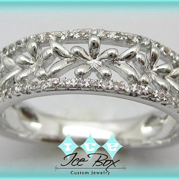 14K White Gold and Diamond Eternity Anniversary Floral Daisy Wedding Band