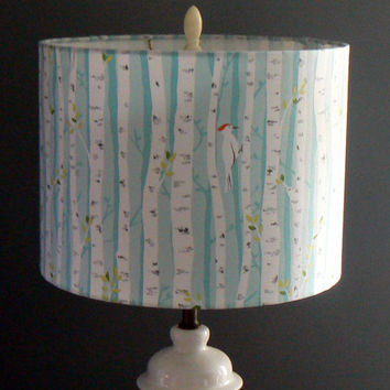 Birches Drum Lamp Shade, Woodpeckers in Birch Trees,Sky Blue Background