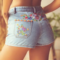 Free People Love Child Embroidered Shorts