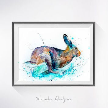 Hare Rabbit watercolor painting print, Hare art, rabbit watercolor, rabbit painting,  rabbit illustration, animal painting, animal art
