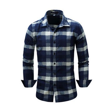 New Arrival Men's Shirt  Fashion Denim Shirts Casual Stylish Jean Tops Soft Material Long Sleeve Mens Plaid Shirt Plus Size