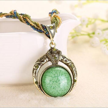 Multilayer Beads Chain Crystal Gem Grain Pendant Necklaces