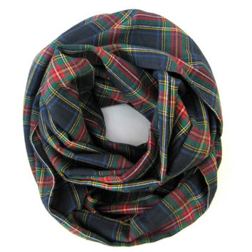 Plaid Infinity Scarf Cute Flannel Scarf Double Loop Scarf Blue Red Green Gold Womens Tube Scarf Warm Winter Scarf Teen Scarf Ready To Ship