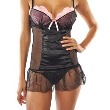 Women's Beautiful Mesh Lace Chemise Bodysuit
