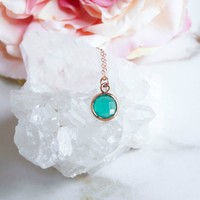 Tiny Green Chalcedony Necklace