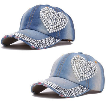 Women Girls Outdoor Rhinestone Denim Baseball Cap Hat = 1930351172