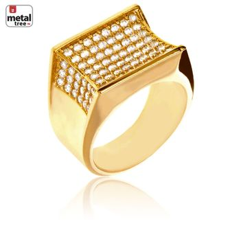 Jewelry Kay style Men's Hip Hop Iced Out Brass 14k Gold Plated Hand Set CZ Band Pinky Rings