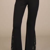 Chatoyant Flare Bell Bottom Soft Pants with Lace Inset-Black