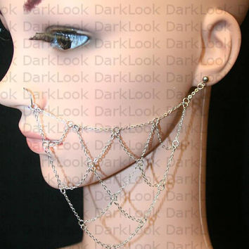 Nose chain, Nose ring with chains, Stainless steel, 21 Gauge Nose ring with chain