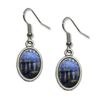 Starry Night Over the Rhone - Vincent Van Gogh Dangling Drop Oval Earrings