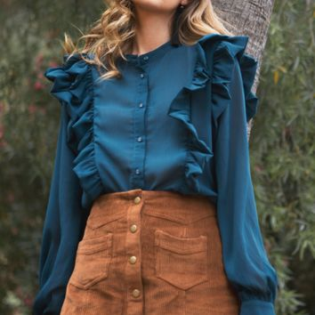 Women's Corduroy Mini Skirt with Front Buttons