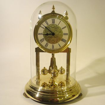 Kundo West Germany Anniversary Mantle Clock Glass Dome Brass Pendulum