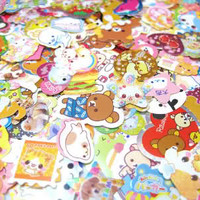 100 KAWAII CUTE STICKER FLAKES LOT Q-LIA SANRIO SAN-X KAMIO CRUX STATIONARY