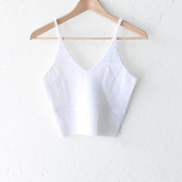 Sweater Knit Crop Top - White