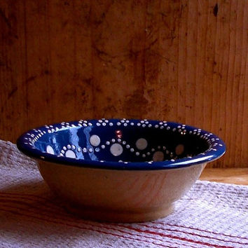 Vintage Stoneware Mixing Bowl - Polka Dots - European - Blue and White - Glazed - Farmhouse Rustic Kitchen Decor