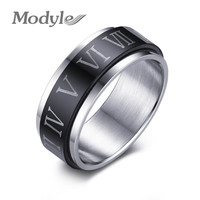 Punk Black Roman Numerals Stainless Steel Rotatable Men's Rings