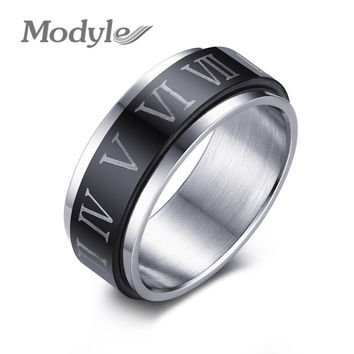 Black Spinner Roman Numerals Stainless Steel Rotatable Men's Rings