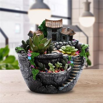 Micro Little House on a Fountain Plant Holder